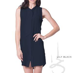 ⟪NWT⟫Lily Black Silk Navy Slvless Shirt Dress (sm)